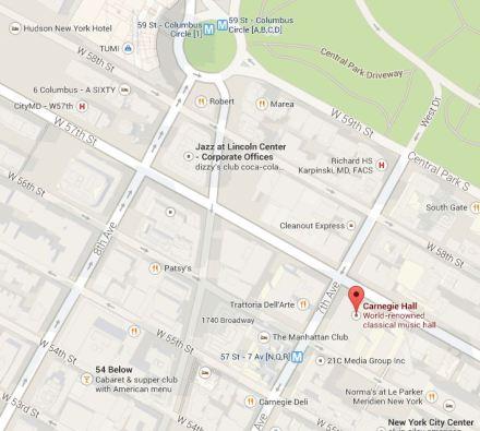 Map Locating Carnegie Hall