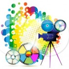 1099375-Clipart-Movie-Camera-Filming-Over-A-Rainbow-Splatter-And-Film-Reels-297x300