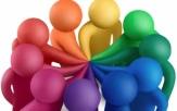 Multicolored plasticine human figures concluding a treaty